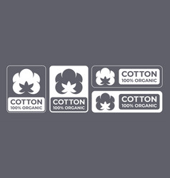 Cotton 100 organic natural fabric logo vector
