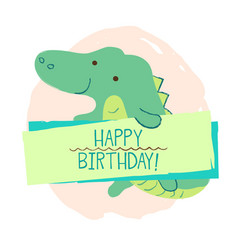 Crocodile element of card vector