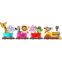 Cute africa animal on train vector