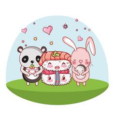 Cute animals with sushi kawaii vector