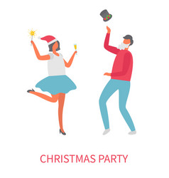 dancing people at christmas party cartoon vector image