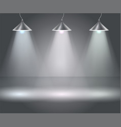 dark background with spotlights studio vector image