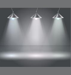 Dark background with spotlights studio vector