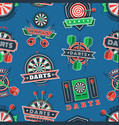 Darts tournament icons and badges seamless pattern vector