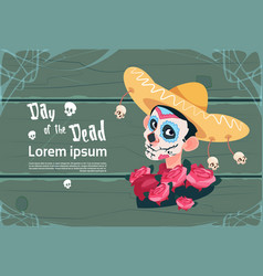 Day of dead traditional mexican halloween holiday vector