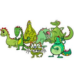 dragons fantasy cartoon characters group vector image