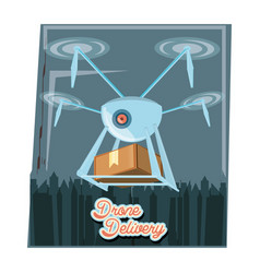 drone delivery service with box and cityscape icon vector image