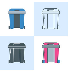 dumpster icon set in flat and line style vector image