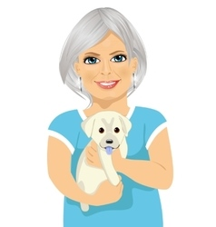 Elderly woman with her kind little labrador puppy vector image