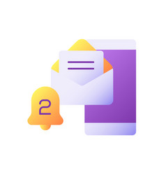 Email alert flat color icon vector
