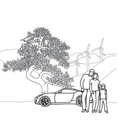 Family with tree and car sketch vector