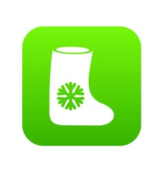 Felt boots icon digital green vector