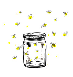 Fireflies flying around the jar vector