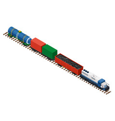 Flat 3d isometric railroad locomotive carriage vector