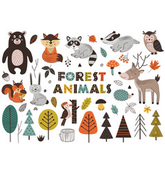 Forest animals and plants in scandinavian style vector