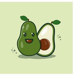 Fruit avocado cute kawaii chibi logo vector
