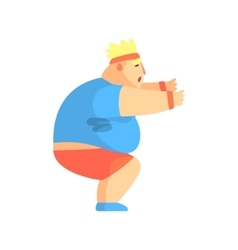 Funny Chubby Man Character Doing Sit Ups At Gym vector