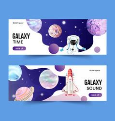 Galaxy banner design with saturn rocket astronaut vector