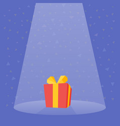 Gift prize red box spotlight vector