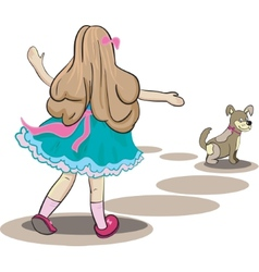 girl and little dog vector image