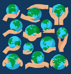 Globe earth in holding hand icon vector