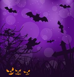 Halloween ominous background with pumpkins bats vector image