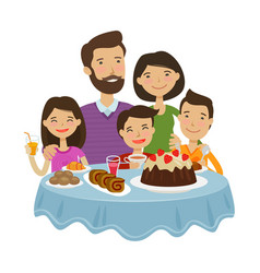 Happy family celebrating holiday concept cartoon vector