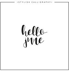 Hello june Time of year Phrase in english vector image