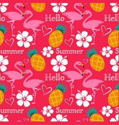 Hello summer seamless pattern with flamingo vector
