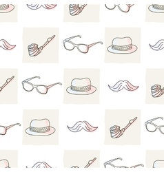 Hipster seamless pattern with hat and glasses vector image vector image