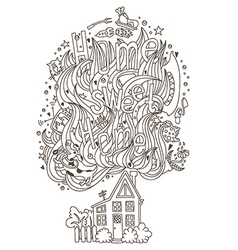 Home monochrome ornament for adult coloring book vector image