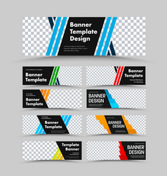 horizontal black web banner templates with vector image