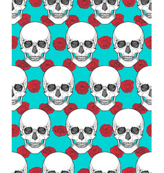 human skull tribal style seamless pattern vector image