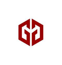 initial logo gg hexagonal vector image