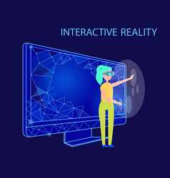 Interactive reality female wearing glasses vector