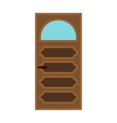 Interior door with glass icon flat style vector