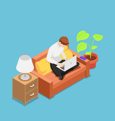 isometric man with laptop working on sofa at his vector image