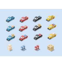 isometric set of wagon car with cargo vector image