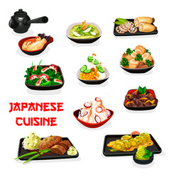 Japanese vegetable dishes with meat and shrimps vector