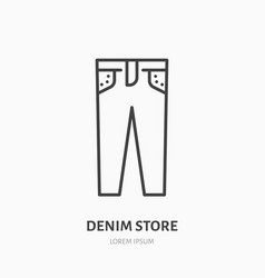 Jeans store flat line icon women apparel denim vector