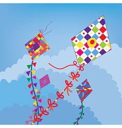 Kites in the sky funny design vector image
