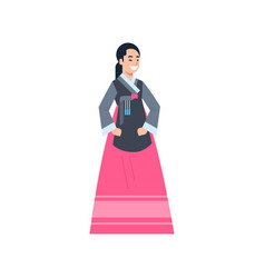 Korea traditional clothes woman wearing ancient vector