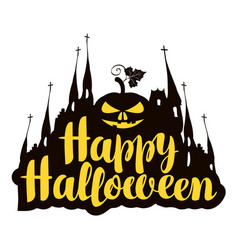 Lettering happy halloween with a horrible pumpkin vector