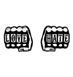 Love and hate hand fists with brass knuckles vector