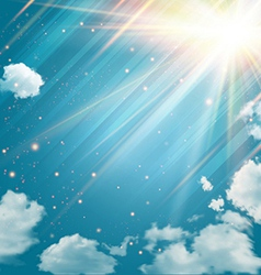 magic sky with shining stars and rays light vector image
