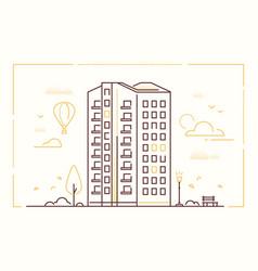 modern building - line design style vector image