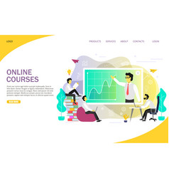 Online courses landing page website vector
