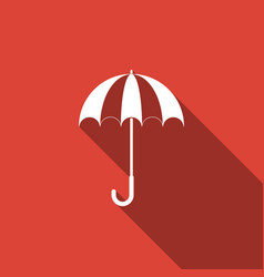 opened umbrella icon isolated with long shadow vector image