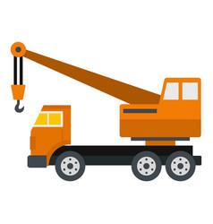 Orange truck crane icon isolated vector