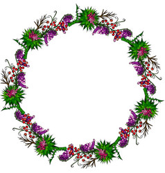 Painted wreath of burdock flowers mouse peas vector